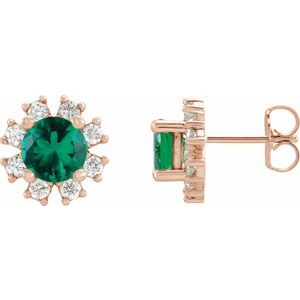 14K Rose Chatham® Created Emerald & 1/2 CTW Diamond Earrings