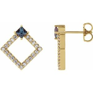 14K Yellow Chatham® Lab-Created Alexandrite & 1/3 CTW Diamond Earrings