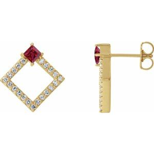 14K Yellow Chatham® Lab-Created Ruby & 1/3 CTW Diamond Earrings