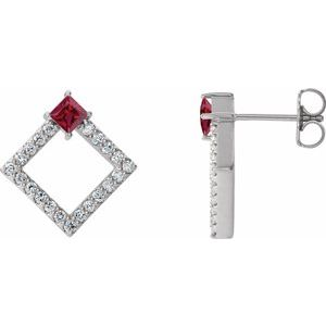 Sterling Silver Chatham® Lab-Created Ruby & 1/3 CTW Diamond Earrings