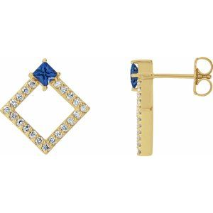 14K Yellow Chatham® Lab-Created Blue Sapphire & 1/3 CTW Diamond Earrings