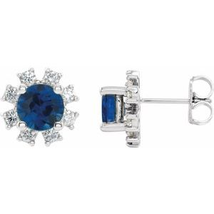 Sterling Silver Chatham® Created Blue Sapphire & 1/5 CTW Diamond Earrings
