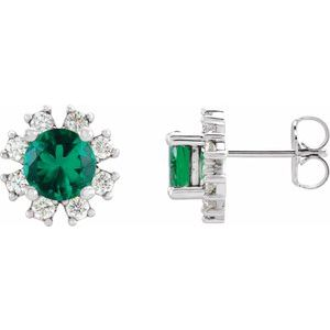 Sterling Silver Emerald & .07 CTW Diamond Earrings