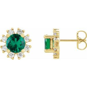 14K Yellow Chatham® Created Emerald & 1/5 CTW Diamond Earrings