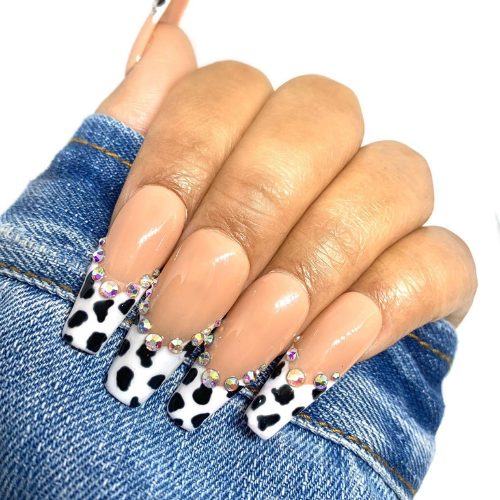Cow Print French Manicure