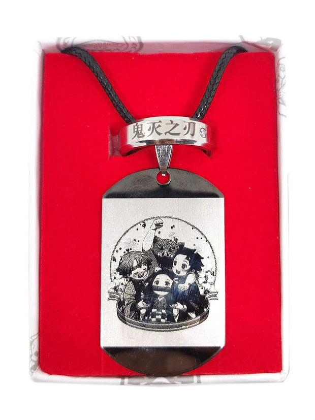 Anime Chibi Demon Slayer Dog Tag & Ring Set - ComicSense