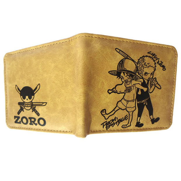 Anime Luffy & Zoro Wallet (Brown) - ComicSense