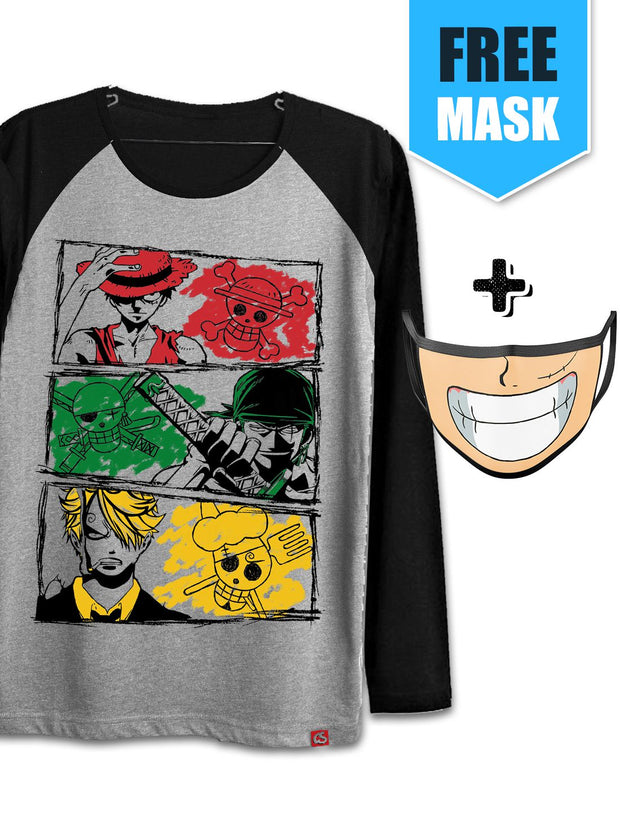 Anime Pirate, Swordsman and Cook (Full Sleeve) [+Luffy Smile Face Mask] - ComicSense