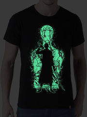 Triple Sword User (Glow in Dark) Anime Half Sleeve T-Shirts by ComicSense