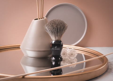 Badger Hair Shaving Brush with Brass Handle in Red Color