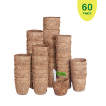 "Load image into Gallery viewer, 60 Pack of 3""Coco Coir Seed Starter Pots, Sustainable & Biodegradable Pots Aternative to Peat Pots, Includes 20 Plastic Plant Markers"