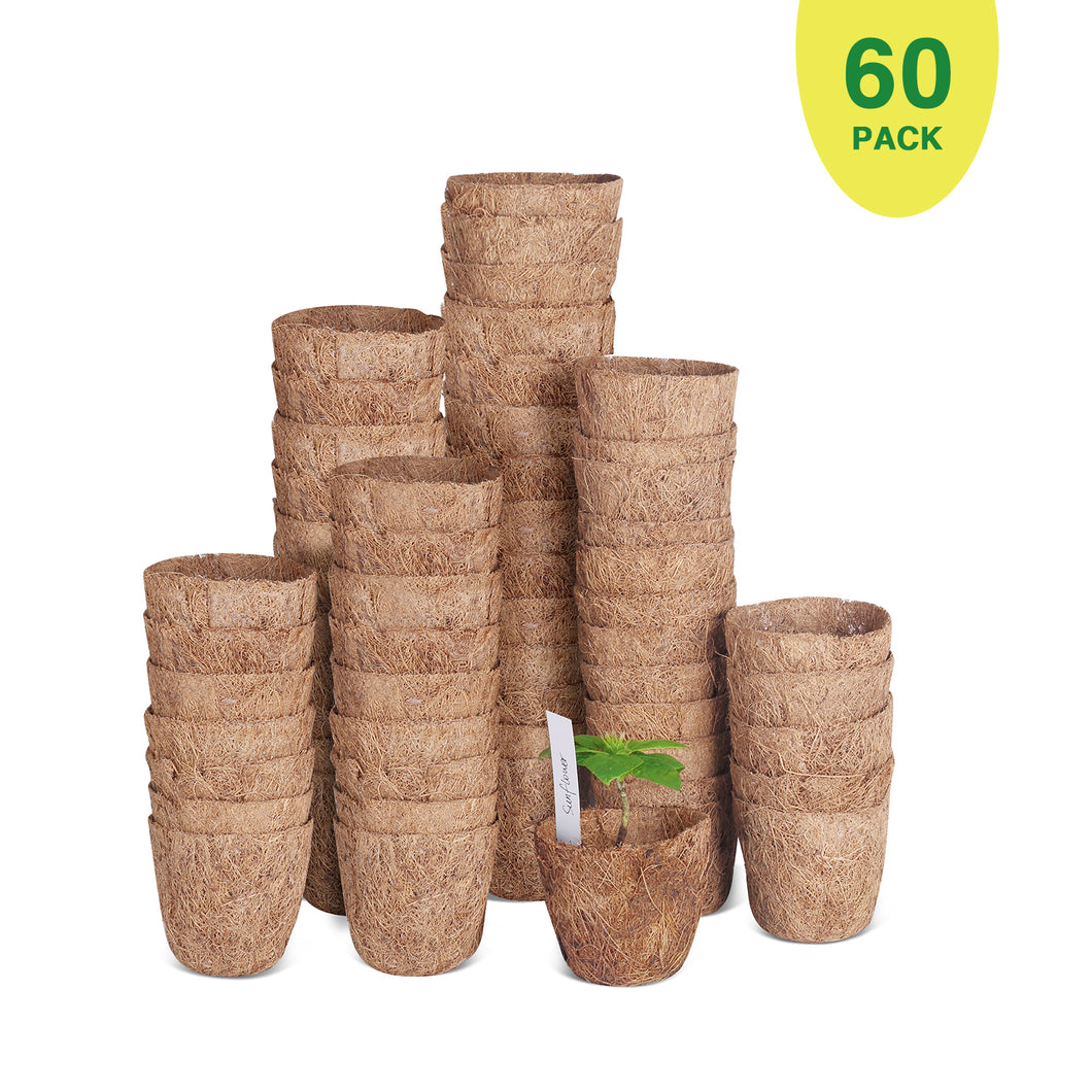 "60 Pack of 3""Coco Coir Seed Starter Pots, Sustainable & Biodegradable Pots Aternative to Peat Pots, Includes 20 Plastic Plant Markers"
