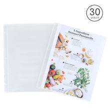 "Load image into Gallery viewer, 30 Pack 8.5 X 11 Plastic Full Page Recipe Protectors for 3 Ring Standard Recipe Binders, Clear Page Refill Sheets, 11.2"" X 9.25"""