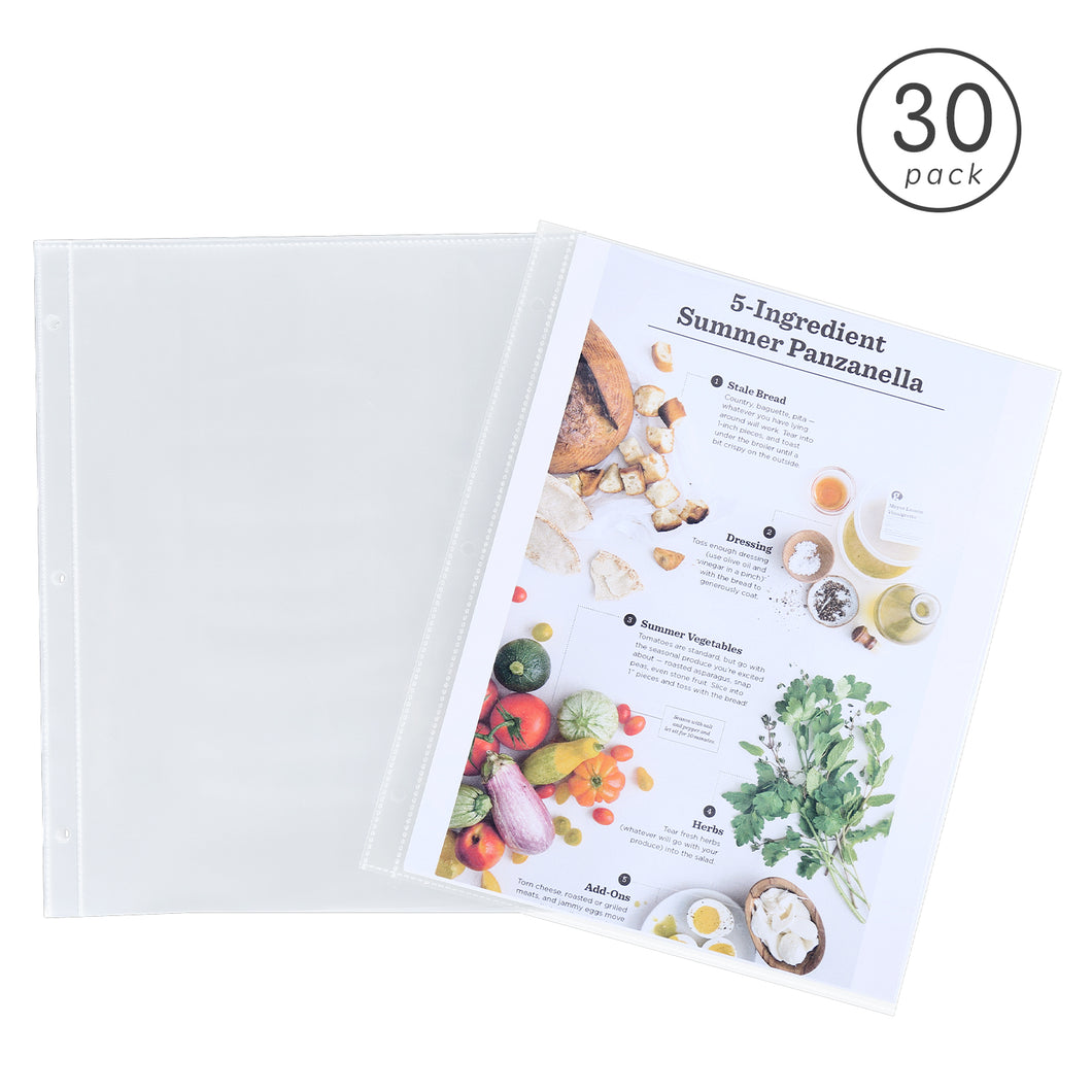 30 Pack 8.5 X 11 Plastic Full Page Recipe Protectors for 3 Ring Standard Recipe Binders, Clear Page Refill Sheets, 11.2