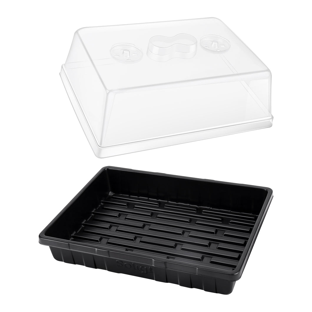 3-Set Strong Plant Growing Trays with Humidity Domes for Seed Starting, Germination and Seedling Propagation, Holds 144 Cells in Total (Cell Tray Not Included)