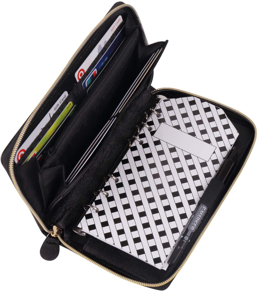 All-in-One Cash Envelopes Wallet with 12 Budget Envelopes & Budget Sheets - Black