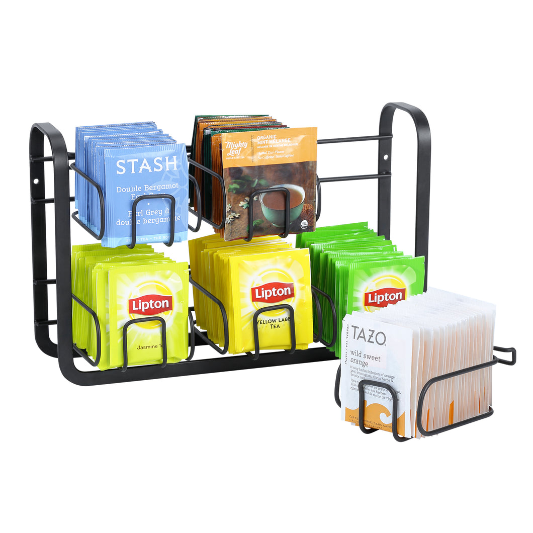 High Capacity 120 Tea Bags Organizer Storage and Display Rack for Cabinet and Counter, Wall Mount Available