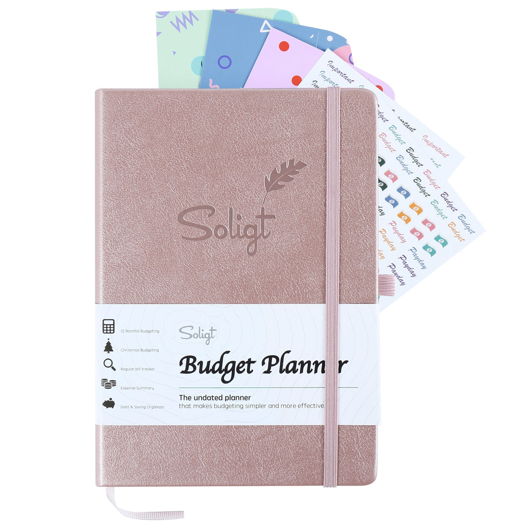 Monthly Budget Planner Book (Undated) with Cash Envelopes & Stickers - 12 Months Financial Planner for Debt, Expense, Income, Saving and Bill Tracker - Rose Gold, A5 Size