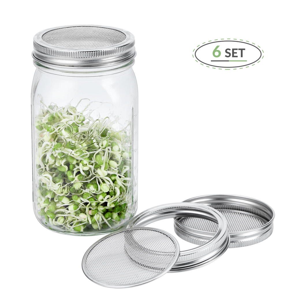 Premium 316 Stainless Steel Sprouting Lids for Wide Mouth Mason Jars - 6 Set