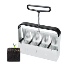 "Load image into Gallery viewer, Manual Quad Soil Blocker with Comfort-Grip Handle, Create 2"" Soil Block for Seedlings, Cuttings, Greenhouses"