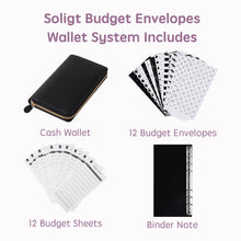 Load image into Gallery viewer, All-in-One Cash Envelopes Wallet with 12 Budget Envelopes & Budget Sheets - Black