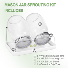 Load image into Gallery viewer, Complete Mason Jar Sprouting Kit - 2 Wide Mouth Quart Sprouting Jars with 316 Stainless Steel Sprouting Lids, Drip Tray and Stand
