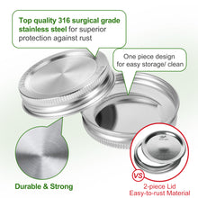 Load image into Gallery viewer, Mason Jar Lids, 12 Pack Premium Surgical 316 Stainless Steel Mason Jar Lids with Airtight and Leak-proof Seal, Regular Mouth, NOT FOR CANNING
