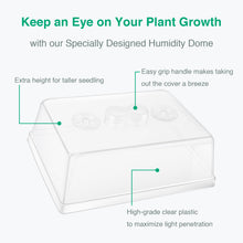 Load image into Gallery viewer, 3-Set Strong Plant Growing Trays with Humidity Domes for Seed Starting, Germination and Seedling Propagation, Holds 144 Cells in Total (Cell Tray Not Included)