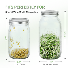 Load image into Gallery viewer, Premium 316 Stainless Steel Sprouting Lids for Wide Mouth Mason Jars - 6 Set