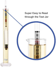 Load image into Gallery viewer, Triple Scale Hydrometer and Glass Test Jar for Wine, Beer, Mead & Cider - ABV, Brix and Gravity Test Kit