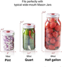 Load image into Gallery viewer, 4-Pack of Fermentation Lids with Extractor Pump for Wide Mouth Mason Jars