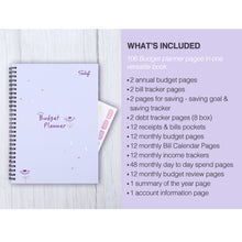 Load image into Gallery viewer, Monthly Budget Planner Book (Undated) with 12 Pockets for Income, Debt, Saving, Expense and Bill Tracker Organizer, Purple, Spiral Design