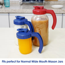 Load image into Gallery viewer, 2 Pack Wide Mouth Mason Jar Lids with Handle, Airtight &Leak-proof Seal, Easy Pouring Spout, Turns your Mason Jar into Pitcher, JARS NOT INCLUDED