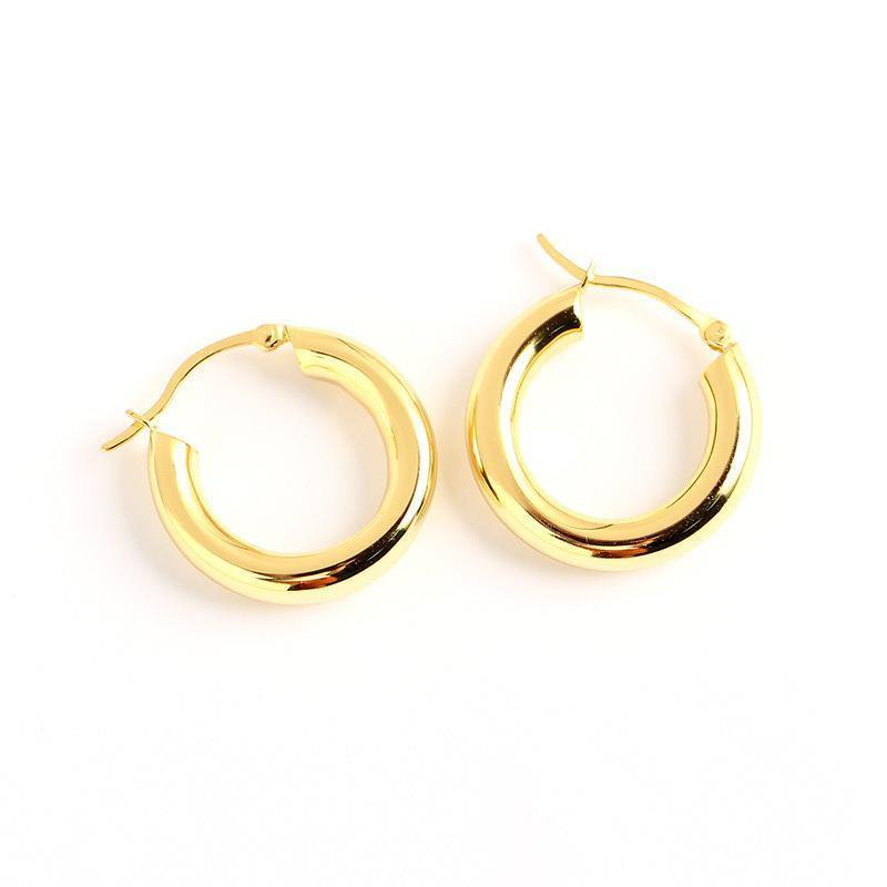 Chunky round hoop earrings - AXHEA