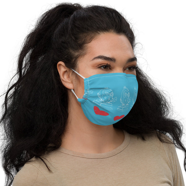 Barred Owl Press premium face mask in blue