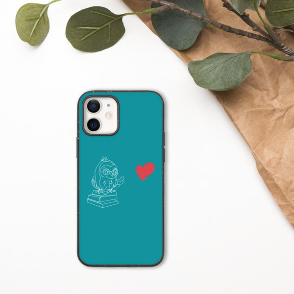 Barred Owl Press biodegradable iPhone case in teal