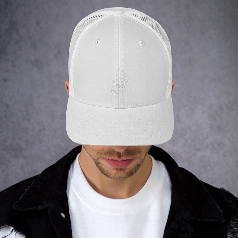Barred Owl Press retro trucker cap in original white