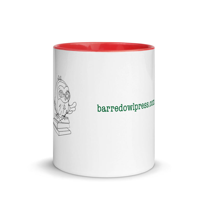 Barred Owl Press mug featuring website