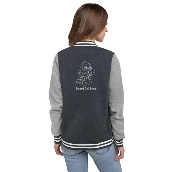 Barred Owl Press women's letterman jacket with name