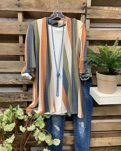 Striped Long Sleeve Jacket Cardigan