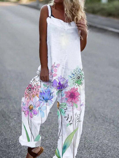 Ladies casual cotton jumpsuit with dandelion flower print