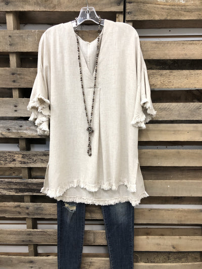 Linen/Cotton Oversize Flare Sleeve Top