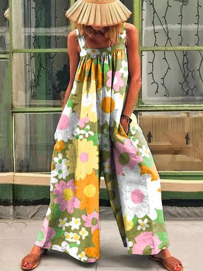 Retro flower print loose jumpsuit