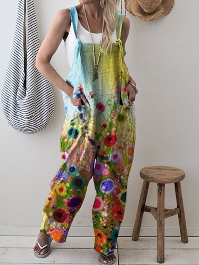 Retro print loose casual jumpsuit