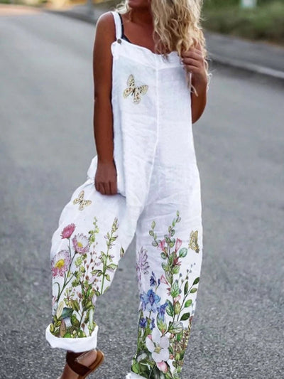 Floral cotton-blend jumpsuit