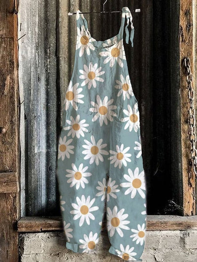 Sleeveless Floral-Print Casual One-Pieces