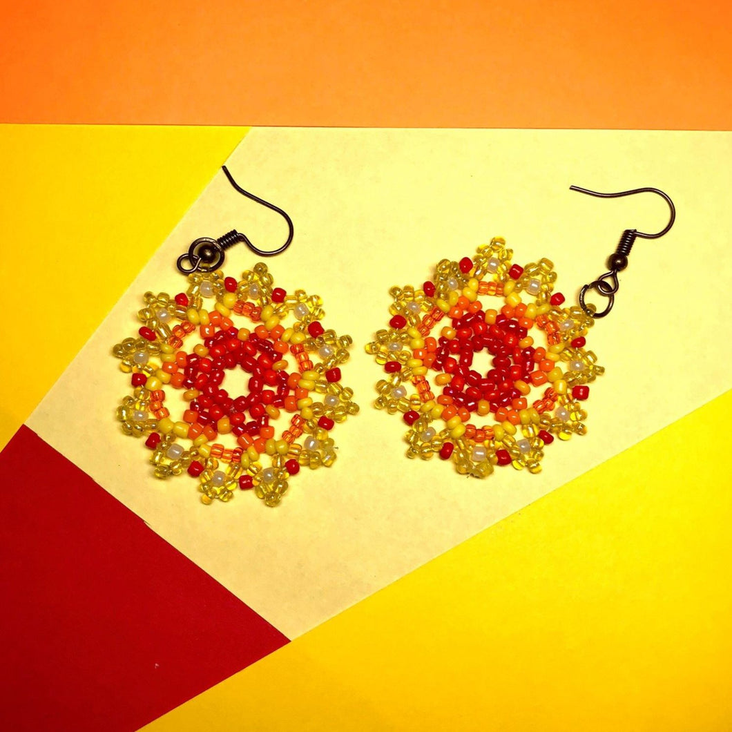 Yellow/Red Beaded Earrings