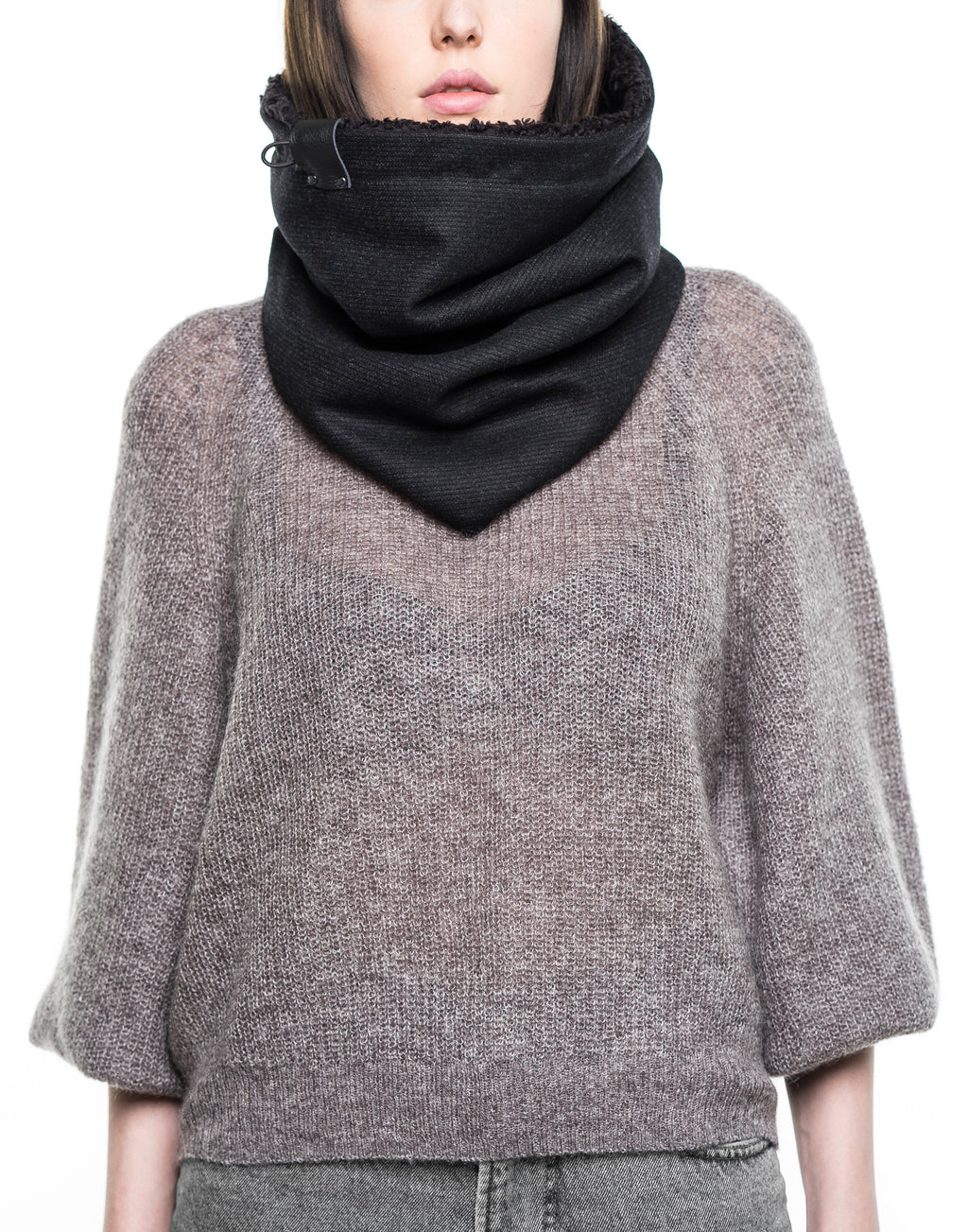 black wool stripe cowl [long]