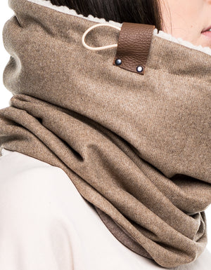 light camel twill wool cowl [long]