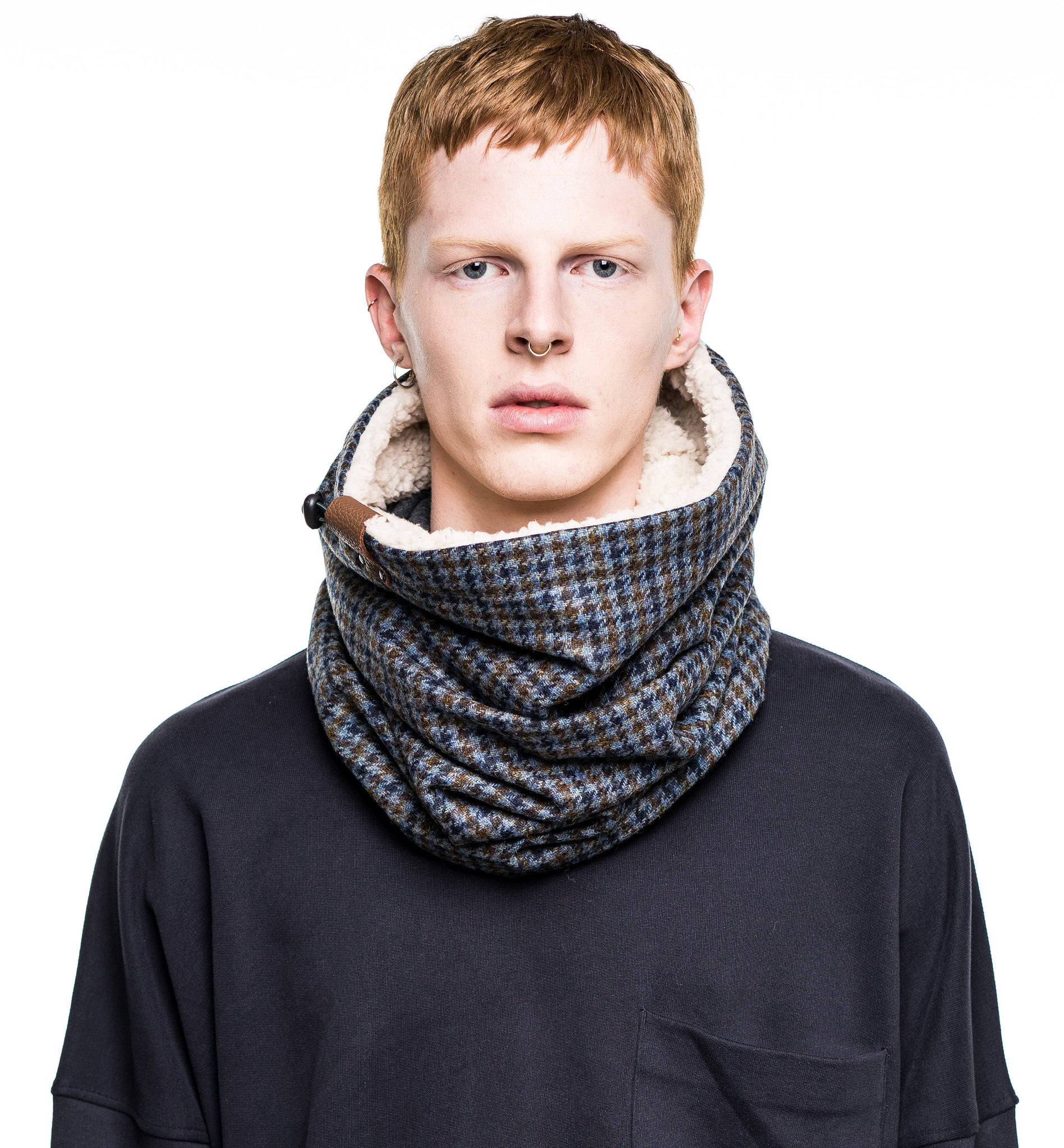 mix scarf taupe acrylic cross infinity thick hatch black sekamore knitted index mens